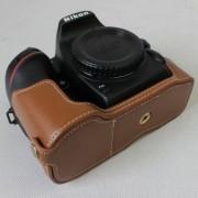Genuine Cowhide Leather Half Bag Cover for Nikon D7500 Digital SLR Camera - Brown