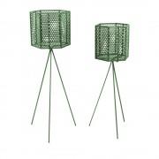 Present Time Mesh Hexagon - 2 cache-pots sur pieds en métal - Couleur - Vert forêt