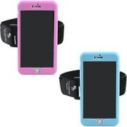 The Friendly Swede Sport Armband for iPhone 6 Plus (5.5 ) 2 Pack Hot Pink + Light Blue