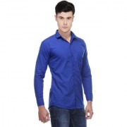 Black Bee Blue Comfort Fit Casual Poly-Cotton Shirt for Men