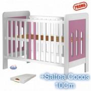 Patut din lemn fara sertar Sophie alb-roz + Saltea 10Cm