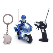 M N Overseas Remote Control Police Bike with Key Chain