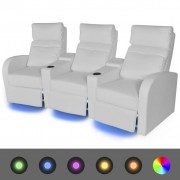 vidaXL Canapea rabatabilă cu 3 locuri cu LED piele artificială alb