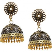 Rubans Oxidised Dual Tone Floral Filigree Jhumka Earrings
