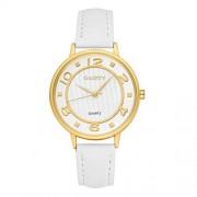 Walfront Gaiety Reloj de Pulsera Elegante para Mujer, con Doble dial y Caja Redonda, Correa de PU Reloj de Pulsera de Cuarzo para niñas (Blanco)