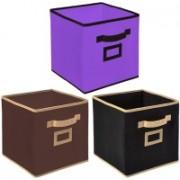 Billion Designer Non Woven 3 Pieces Small Foldable Storage Organiser Cubes/Boxes (Black & Coffee & Purple) - CTKTC35179 CTKTC035179(Black & Coffee & Purple)