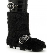 Miu Miu Faux Shearling And Patent Boots NERO