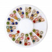 Pietricele Colorate cu Rama Metalica Aurie, Disc Nail Art