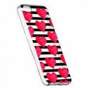 Husa Silicon Transparent Slim Red Heart 102 Apple iPhone 5 5S SE