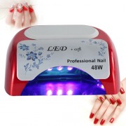 48W UV + LED Automatic Sensor Nail Lamp Fingernail Gel Curing Dryer without Display AC 100-240V(Red)