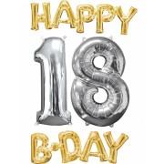 Vegaoo Happy 18th Birthday - Aluminiumballong i guld och sliver One-Size