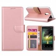 Luxe Lederen Bookcase hoesje voor de Nokia 2 - Metallic Roze