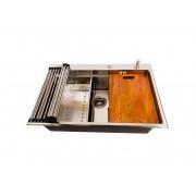 Chiuveta bucatarie inox CookingAid HERA TOP XL cu dozator detergent scurgator vase paste fructe gratar rulabil inox tocator lemn Sapele + accesorii montaj