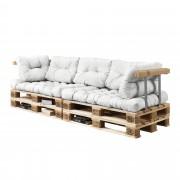 [en.casa]® Paletový interiérový nábytok - 2 x sedák, 5 x vankúš - biele