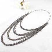 Multi-layers Waterfall Long Tassel Chains Necklace - Silver