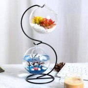 ELECTROPRIME Clear Hanging Glass Vase Flower Plant Pot Fish Tank with S-Shaped Iron Stand