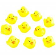 ER 10pcs Bebé De Baño Bañera Juguetes Mini Goma Squeaky Float Pato Amarillo Amarillo