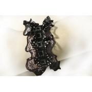 Rockabilly csipke karkötő, fekete