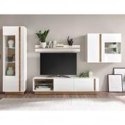 Wohnzimmer Anbauwand in Weiß und Wildeiche Optik 295 cm breit (4-teilig)