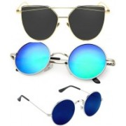 Rich Club Cat-eye, Round Sunglasses(Grey, Blue)