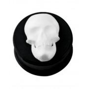 Smiling White Skull - Svart Piercing Plugg