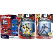"Power Rangers Figures 2-Pack Saban's Ninja Steel Edition 5"" with Battle Gear Blue Ranger & Yellow Ranger with Sword Action Hero Figure + Bonus Blind Bag Cube Heads Clip On Hanger & Accessory"