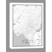 Ateny mapa czarno biała - obraz na płótnie