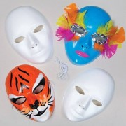 Plastic Face Masks - 6 Plastic Masks. Special surface can be paint and decorated. Size 18cm x 15cm.