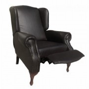 Carla Pushback Wingback Chair Black Bonded Leather (PU)