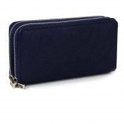 Billetera Cloe minimalista con material embozado - azul