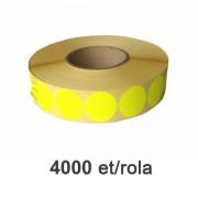 Role de etichete semilucioase rotunde galbene fluo 35mm, 4000 et./rola