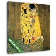 Gustav Klimt: A csók, 1908 (25x25 cm, Vászonkép )