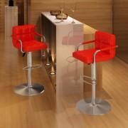 vidaXL 2 db piros bárszék karfával