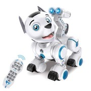 fisca Remote Control Robotic Dog RC Interactive Intelligent Walking Dancing Programmable Robot Puppy Toys Electronic Pets with Light and Sound for Kid
