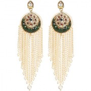 Envy Jewellery Gold Plated Kundan pearls semi precious chips Dangle Earring