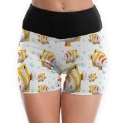 qingdaodeyangguo Pantalones Cortos de Yoga sin Costuras con Anclas, diseño de Flores para Mujer, Diseño sin Costuras, S