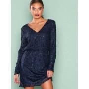 NLY Trend Sparkly V Neck Dress Loose fit Blå