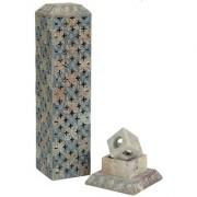 Incense holder Diwali Gifts Hand Carved Vertical Incense Stick Holder Soapstone Carving Moss Finish Lattice Design
