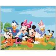 Tablou pictura pe numere pentru copii Mickey Mouse si Prietenii 40 x 50 cm