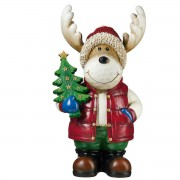 "20"" (67cm) Christmas Moose Greeter with Christmas Tree LED Lights Indoor/Outdoor"