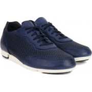 Clarks Triturn Run Blue Leather Sneakers For Men(Blue)