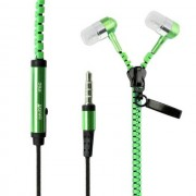 Maxy Zipper Auricolare Stereo Super Bass Headphones In-Ear Jack 3,5mm Universale Green Per Modelli A Marchio Huawei