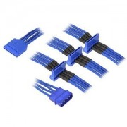 Cablu adaptor BitFenix Alchemy 4-pini Molex la 4x SATA, 20cm, blue/blue, BFA-MSC-M4SA20BB-RP