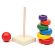 VIPASNAM-Tower Up Play Wooden Ring Stacking Kids Baby Rainbow Toy Educational Toys Stack