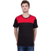 AERO Black Solid Cotton Round Neck Slim Fit Half Sleeve Men's T-Shirt