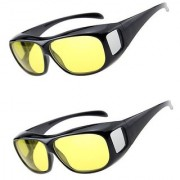 BUY 1 GET 1 FREE HD Wrap Arounds Best Quality Yellow Color Glasses Night Driving Glasses (AS SEEN ON TV)