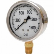 Valley Instrument 2 1/2Inch Stainless Steel Glycerin Gauge - 0-1,500 PSI