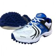 Port Men's Synthetic White PU NITRO Cricket Rubber Stud Shoes