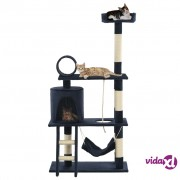 vidaXL Penjalica za mačke sa stupovima za grebanje od sisala 140 cm tamnoplava