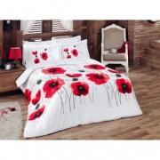 Lenjerie de pat Satin Poppy Flower V1 Red